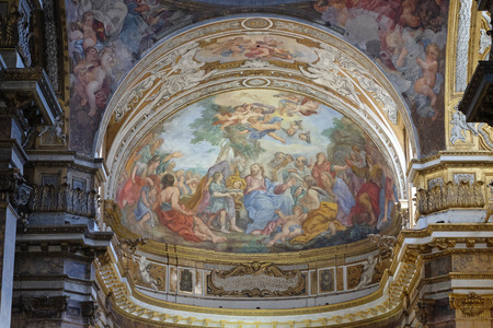 multiplicacion: The fresco of The Miracle of Multiplication on the main apse of Basilica di Sant Andrea delle Fratte, Rome, Italy