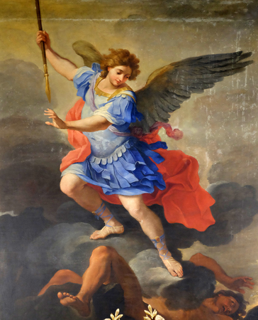 St Michael the Archangel, altarpiece by Ludovico Gimignani in Chapel of St Michael the Archangel, Basilica di Sant Andrea delle Fratte, Rome, Italy