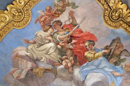 Fresco of virtues on the little cupola of side nave in Basilica dei Santi Ambrogio e Carlo al Corso, Rome, Italy