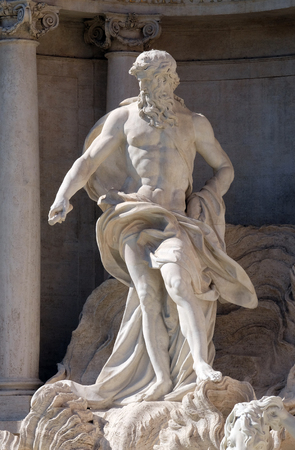 Ocean, the main statue of the Trevi Fountain in Rome. Fontana di Trevi is one of the most famous landmark in Rome, Italy Stock Photo
