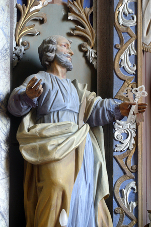 Saint Peter statue at the altar in the Parish Church of Saint Martin in Pisarovinska Jamnica, Croatia