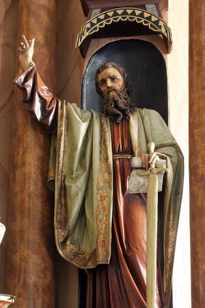Statue of Saint Paul on the altar in Parish Church of Saint Martin in Martinska Ves, Croatia