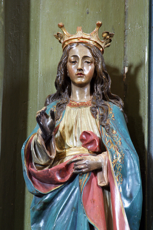 Saint Barbara, altar in Parish Church of Saint Mary Magdalene in Donja Kupcina, Croatia