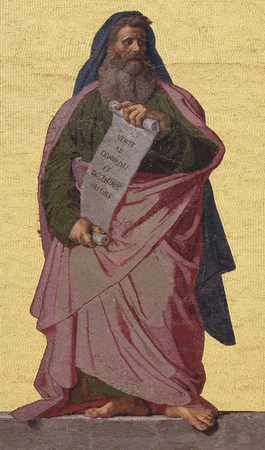 Mosaic of the Prophet Isaiah in the facade of Basilica of Saint Paul outside the walls, Rome, Italy Editorial