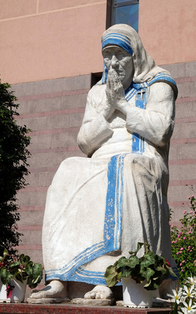 Mother Teresa statue in front of St Pauls Cathedral in Tirana, Albania
