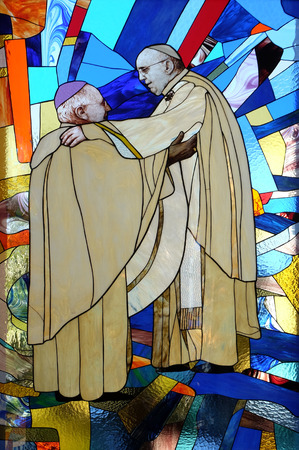 Pope Francis, stained glass window in St Pauls Cathedral in Tirana, Albania