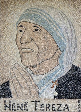 Mother Teresa mosaic in St Pauls Cathedral in Tirana, Albania Editorial