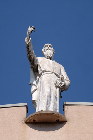 Saint Paul the Apostle statue on St Pauls Cathedral in Tirana, Albania