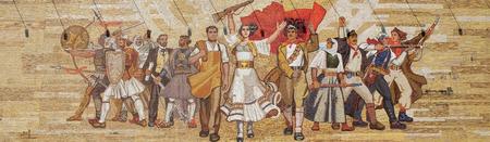 Mosaic above the National History Museum featuring Socialist propaganda and heroic revolutionary, Tirana, Albania