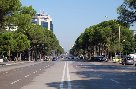 View along the boulevard Bulevardi Deshmoret e Kombit in Tirana, Albania Editorial