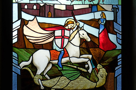 Saint George stained glass window in Mother Teresa cathedral in Vau i Dejes, Albania