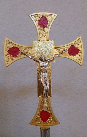 Cross on the altar in the Mother Teresa cathedral in Vau i Dejes, Albania