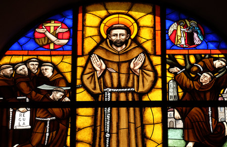 Saint Francis of Assisi, stained glass window in St Stephens Cathedral in Shkoder, Albania