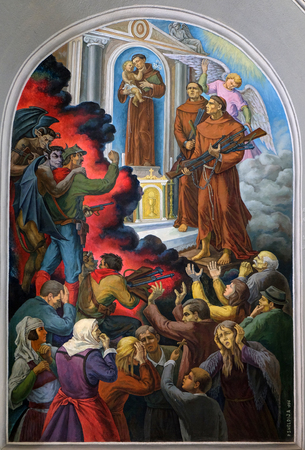 Frescoes that depict the persecution of religion in socialist Albania, St Stephens Cathedral in Shkoder, Albania Editorial