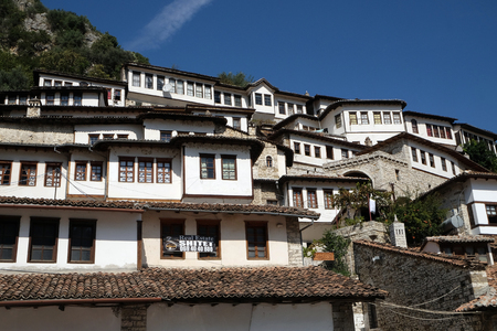 river county: Traditional ottoman houses in old town Berat known as the White City of Albania Editorial