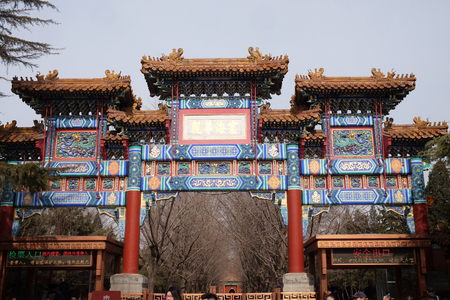 dalai: The paiyunmen Gate decoration of The Lama Yonghe Temple in Beijing, China