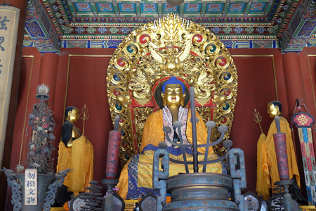 Blue Buddha Altar Offerings Yonghe Gong Buddhist Lama Temple. Built in 1694, Yonghe Gong is the largest Buddhist Temple in Beijing, China