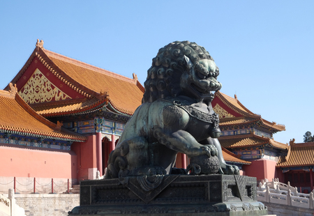 royal: Lion Statue, Forbidden city in Beijing, China