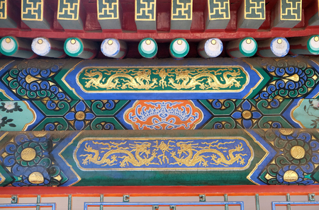 An ornate painted ceiling on a building in the Forbidden City in Beijing, China