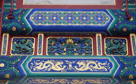dalai: Colorful ceiling decoration at the of The Lama Yonghe Temple in Beijing, China Editorial