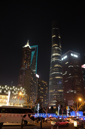 Shanghai world financial center skyscrapers in Lujiazui group in Shanghai, China