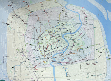 Metro network map at Peoples Square Station in Shanghai, China Editorial