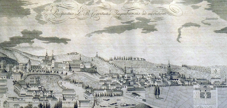 View of the free royal city of Zagreb from the south from 1822
