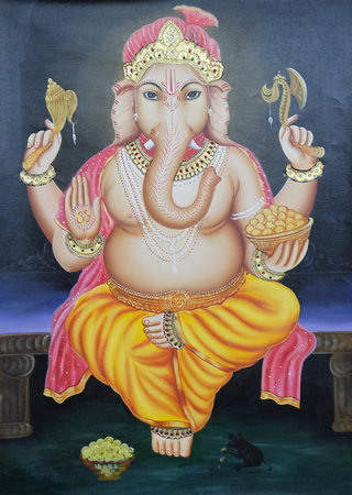 Mythological elephant god - Ganesh on the wall, Delhi, India