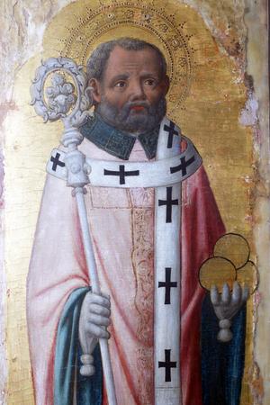 Antonio Vivarini: Sinterklaas, altaarstuk in de Euphrasiusbasiliek in Porec, Kroatië Stockfoto - 79431388
