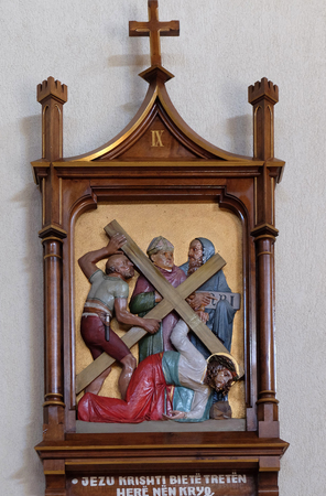 9th Stations of the Cross, Jesus falls the third time, Mother Teresa cathedral in Vau i Dejes, Albania
