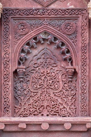 unesco world heritage site: Stone pattern on a temple wall in Red Fort, Agra, UNESCO World heritage site, India.