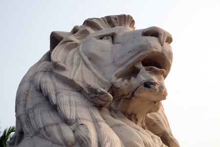 Antique Lion Statue at Victoria Memorial Gate, Kolkata, India, sculptured by Vincent Esch in Kolkata, West Bengal, India Stock Photo