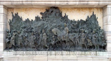 Bronze memorial panel at the Victoria Memorial building in Kolkata, West Bengal, India
