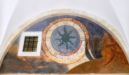 Clock in the cloister of the Franciscan monastery of the Friars Minor in Dubrovnik, Croatia Stock Photo