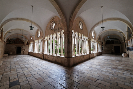 The cloister of the Franciscan monastery of the Friars Minor in Dubrovnik, Croatia Stock Photo