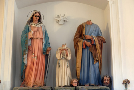 Holy Family, figures were ravaged on January 13th,1992, by the Serbian-Montenegrin invaders having previously burnt down Cilipi, church of St. Nicholas in Cilipi