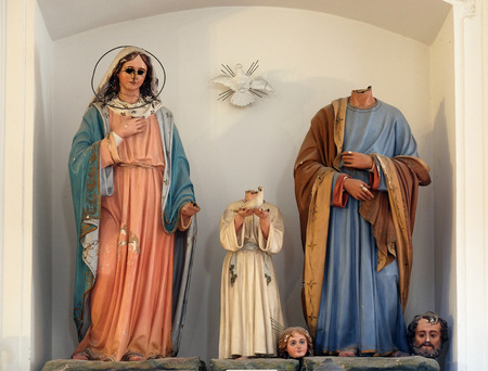 Holy Family, figures were ravaged on January 13th,1992, by the Serbian-Montenegrin invaders having previously burnt down Cilipi, church of St. Nicholas in Cilipi, Croatia Editorial