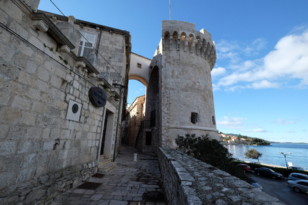 One of the towers in the ancient city wall of the historic city Korcula at the island Korcula in Croatia Editorial