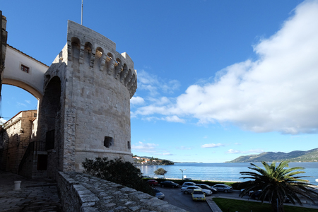 One of the towers in the ancient city wall of the historic city Korcula at the island Korcula in Croatia Stock Photo