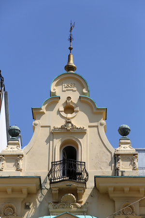Facade of the old city building on Ban Jelacic Square in Zagreb, Croatia