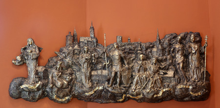 Bas relief with churches and patron saints of Gradec, the old part of Zagreb in Chapel of Saint Dismas in Zagreb, Croatia