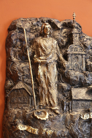 Saint James, bass relief in Chapel of Saint Dismas in Zagreb, Croatia Editorial