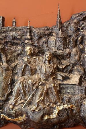Saints Protasius and Gervasius, relief in Chapel of Saint Dismas in Zagreb, Croatia Stock Photo