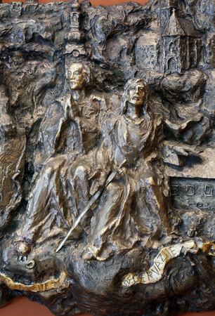 Saints Protasius and Gervasius, bass relief in Chapel of Saint Dismas in Zagreb, Croatia Editorial