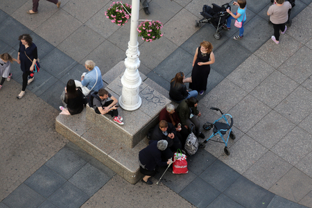 People at Ban Jelacic Square in Zagreb, Croatia