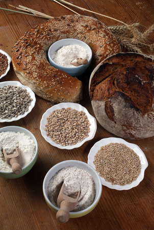 Ingredients for baking on kitchen table