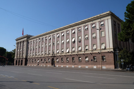 The House Parliament building in Albania on the boulevard Bulevardi Deshmoret e Kombit, Tirana, Albania Stock Photo