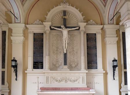 Catholic graves tombstones with cross, Mirogoj cemetery in Zagreb, Croatia