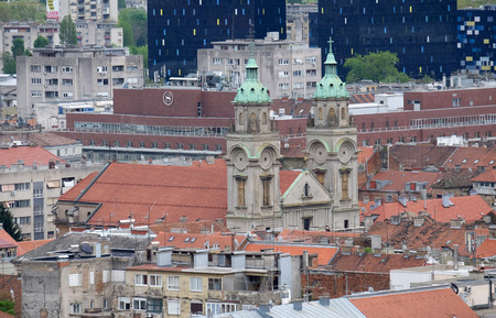 Basilica of the Sacred Heart of Jesus in the center of Zagreb, Croatia Editorial