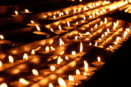 Lit candles on the altar of Our Lady in the Cathedral of the Assumption of Mary in Zagreb, Croatia
